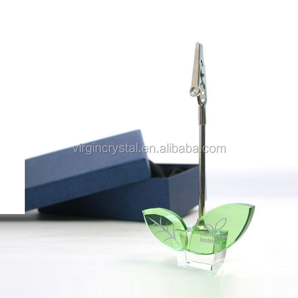 Cute green leaf design crystal paper photo clip memo holder