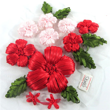 new arrival fashion hand work flower design ribbon embroidery,Ribbon embroidery for clothing