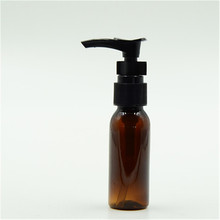 Empty Wholesale 30ml Amber Clear Blue Green plastic PET shampoo bottles with locked lotion pump