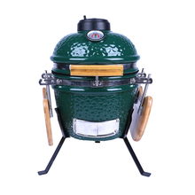 Green Kamado Mini Tabletop Ceramic BBQ Grill / Egg BBQ Smoker