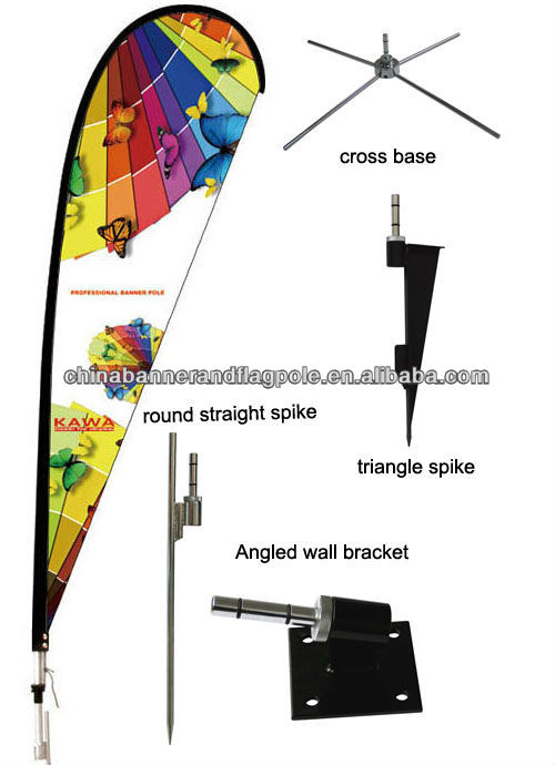 Telescope fiberglass pole with ground base bow banner stand