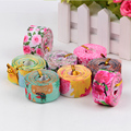 Cheap custom printed floral polyester grosgrain ribbon with logo