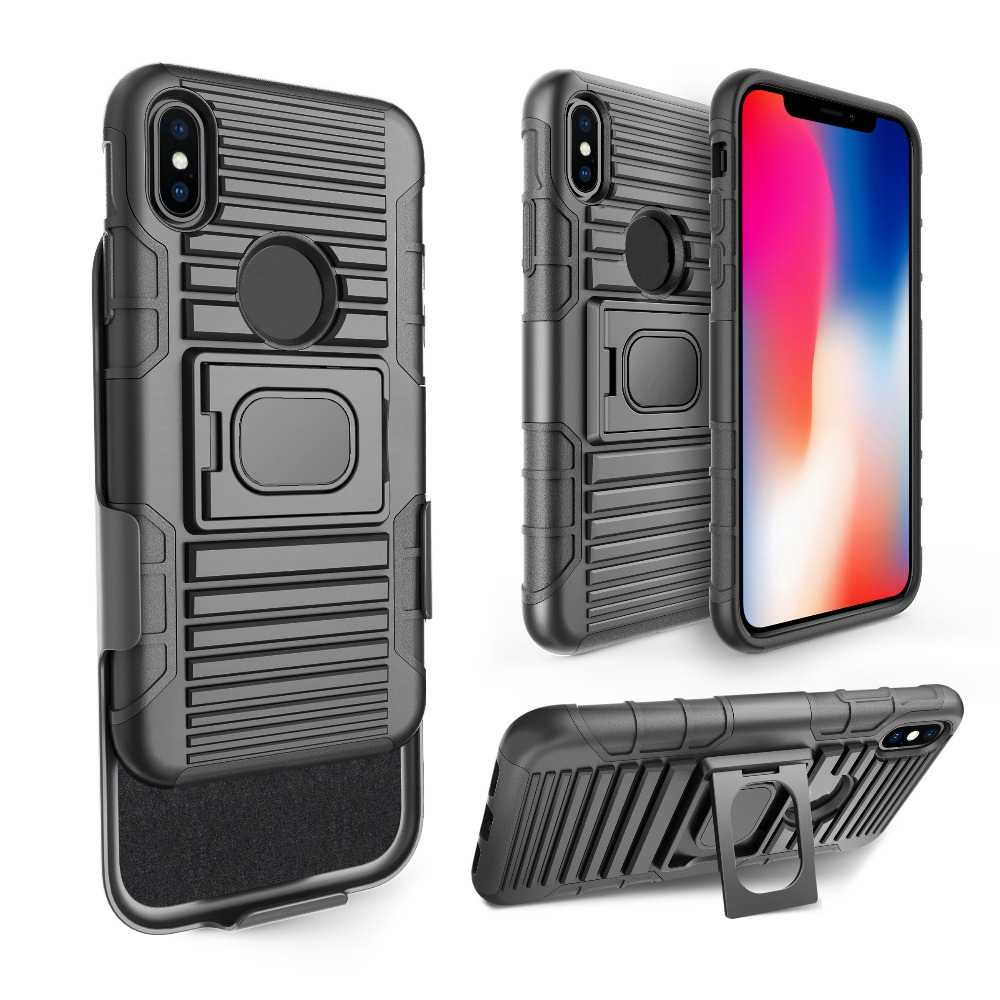 2018 new arrivals 3 in 1 rugged magnet swivel robot holster case for iphone x