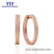 Hot sale 18k gold jewelry two tone color plating big style design copper brass cz earrings for women