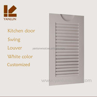2015 China Manufacturer white color swing pine wood louver cabinet door