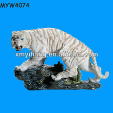 High quality White polyresin tiger figurines