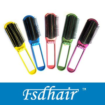 Foldable hair brush with cosmetic mirror