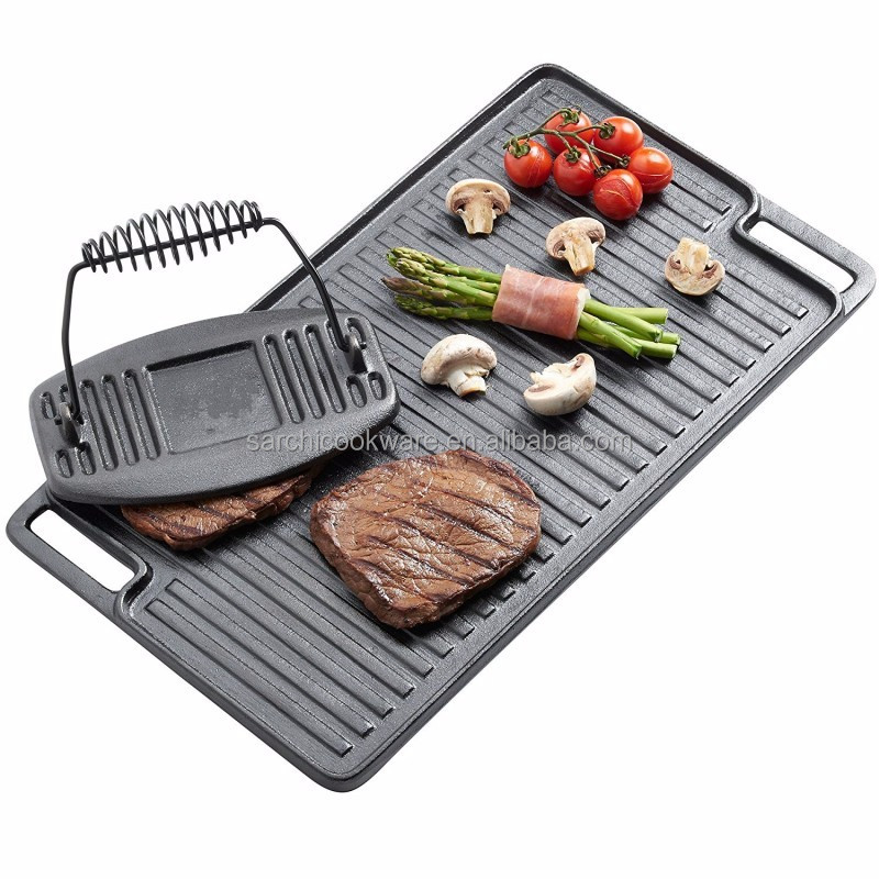 Cast iron double side face grill frying pan