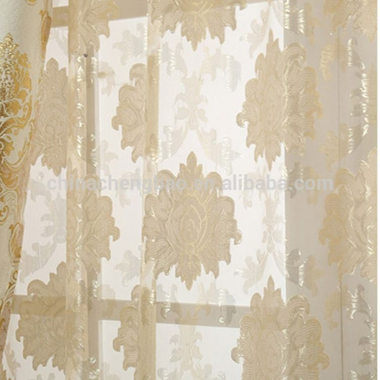 Colored lace curtains 100% polyester sheer jacquard fabric for curtain