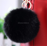 Customized large faux fur ball crystal pompom keychain/key ring for bags & garments