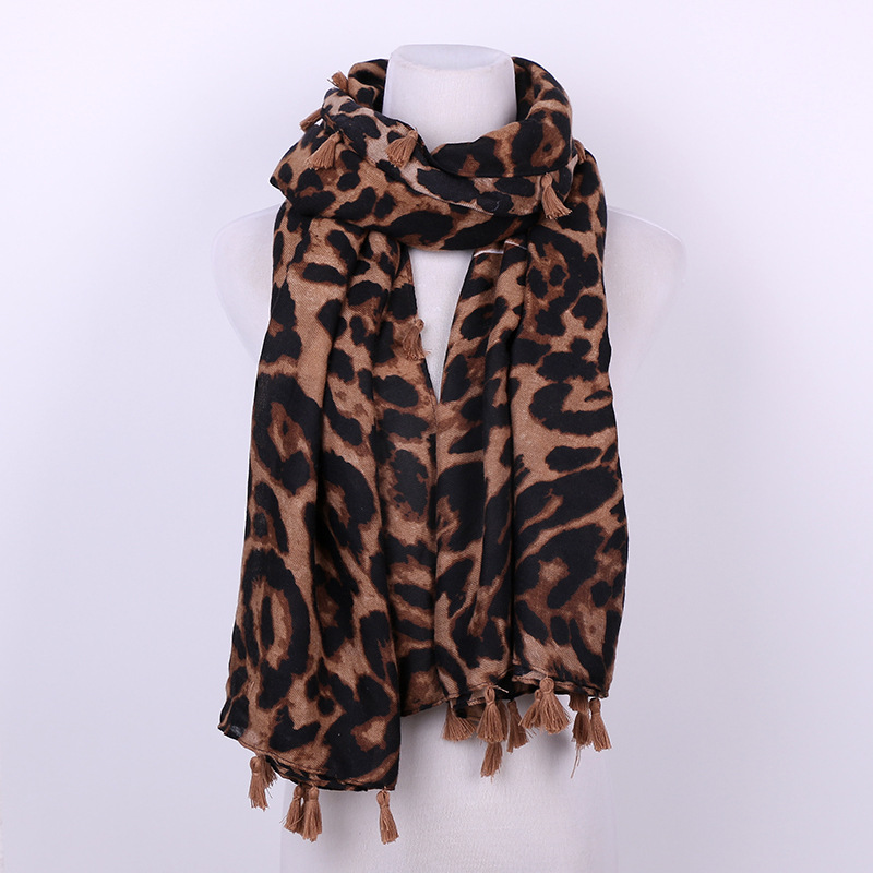 fashion women digital leopard printed woven rayon shawl 100 viscose scarf