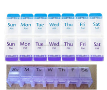 7 Days 14 Compartments Push button pill box