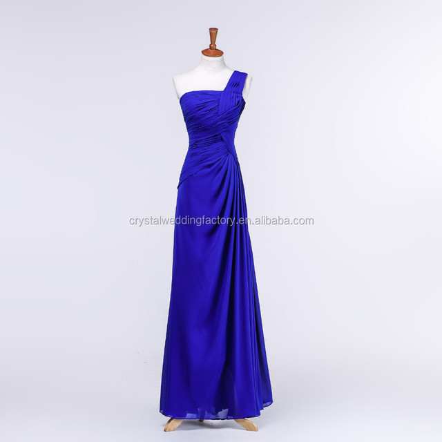 One shoulder free shipping hot sale ruched chiffon cheap 2015 long royal blue bridesmaid dresses CWFb2542