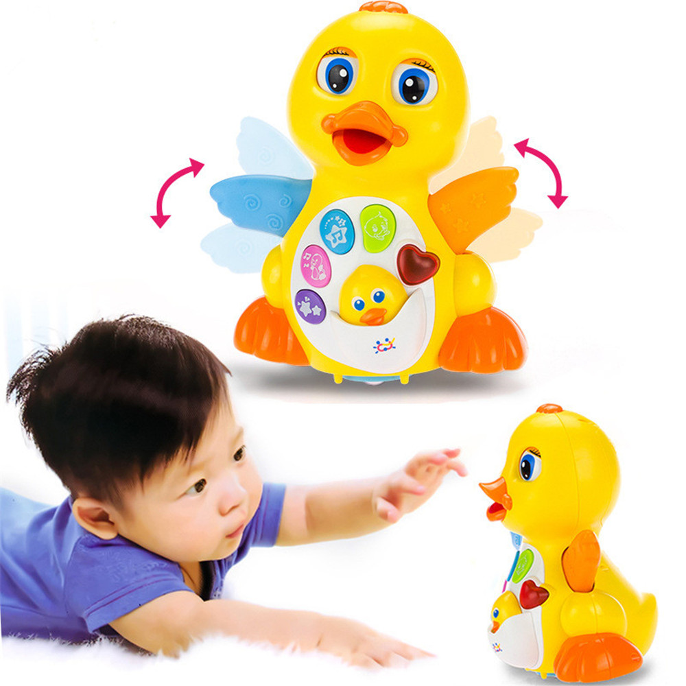 Fashion Multifunction EQ Swing Wheel Yellow Big Cute Duck Educational Baby Toy With Music And Light