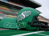 Outdoor advertising inflatable green football helmet tunnel