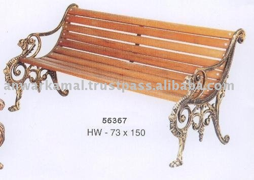 Cast Wooden Garden Bench Metal & Wood Combined