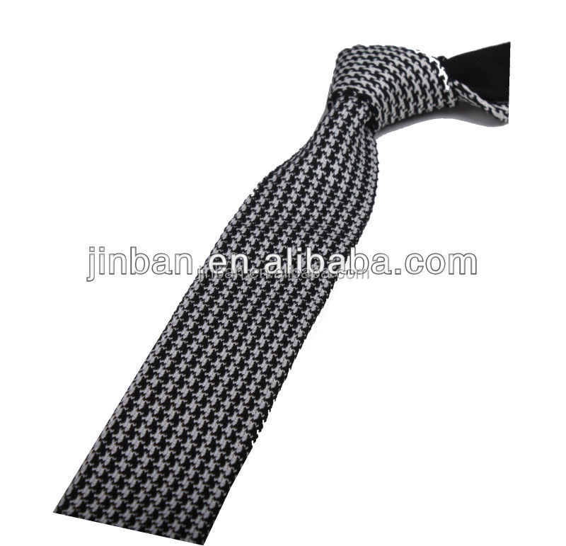 Cheap men 100% silk woven grey square end tie
