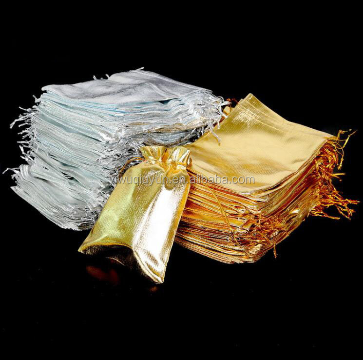 Silver Gold Metallic Foil Organza Pouches Wedding Party Favour Gifts Christmas Candy Bags
