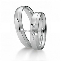 Top quality Classic Europe Western Design White Gold Style Surgical Steel Wedding Bands Promise Rings for Men Women