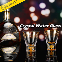 Hand Blown Glass Gold-rimmed Clear Crystal Cup Drinking Water Glassware