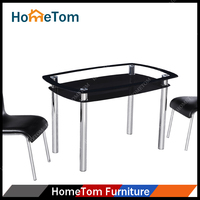 Wholesale Modern New Style Temepered Glass Top Iron Food Table