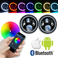 7 Inch Round Project Daymaker LED Headlights RGB Halo For Jeep Wrangler Bluetooth Phone APP Control Jeep Headlights