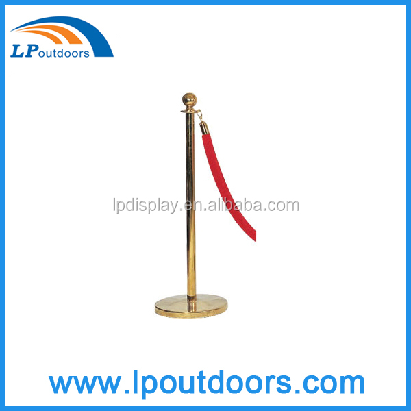Velour Rope Museum Gold Barrier Stanchion Protection Stand For Hotel