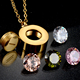 Top Quality Brand Jewelry Gold-color Women Wedding Necklace Aaa+ Interchangeable Cz Stone Pendant Necklace