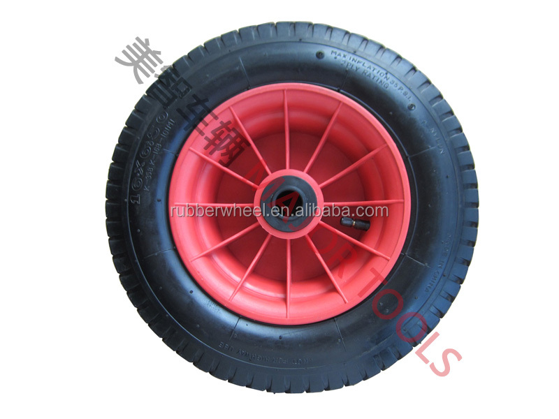 145mm width tread beach pneumatic push cart wheels 16X6.5-8