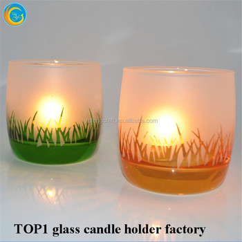 Grass Design Glass Candle Holders Exported to United Kingdom