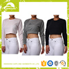 Wholesale custom blank Womens long sleeves FITTED CROP SWEATSHIRT