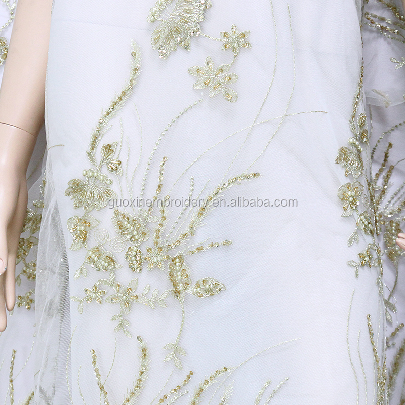 3d flower lace embroidered fabric with beads/embroidery designs flower lace/wedding dress lace