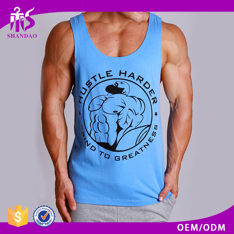 2016 Guangzhou Shandao OEM Summer Men Fashion 100% Cotton Mens Gym Singlet