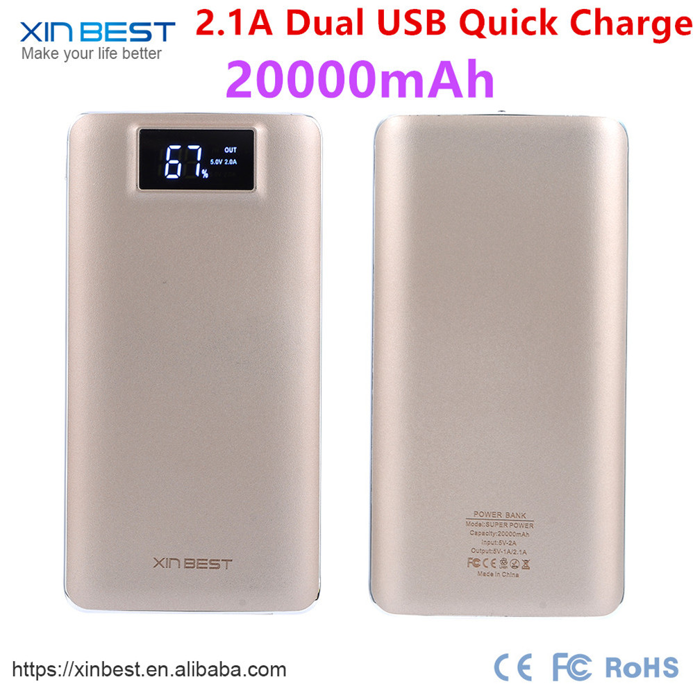 Xinbest customized promotion gift Smart Portable Dual USB Rohs Power Bank 20000mAh 16000mAh 10000mAh