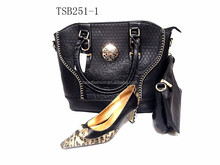 TSB251-1 black high quality shoes matching big lady handbag and evening purse bags