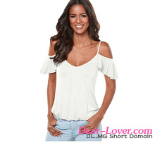 New Arrival Sexy Crisscross Back Ruffle Cold Shoulder Girl Latest Design Top