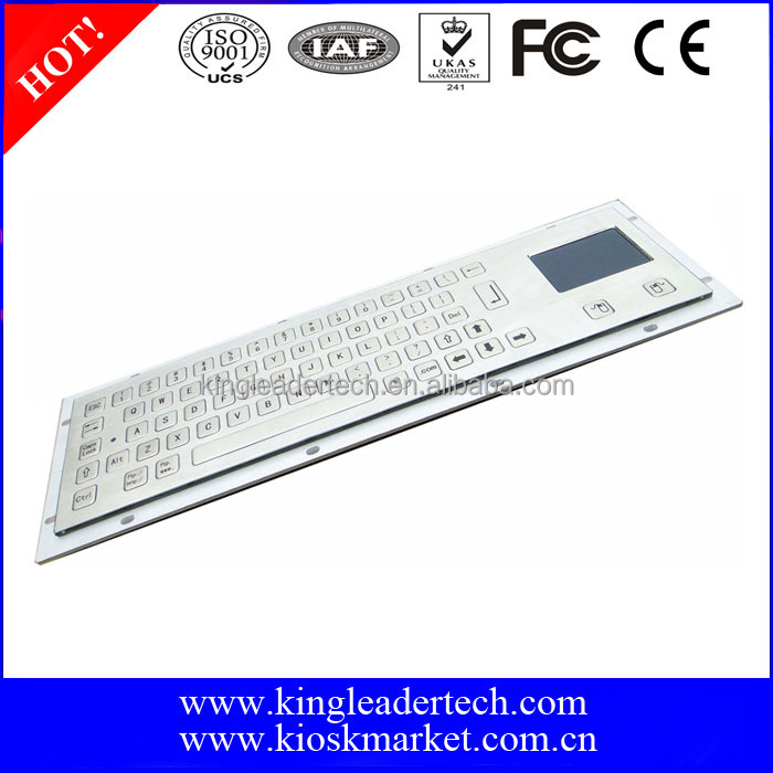 Panel mount touchpad wired keyboard with 64 flush keys