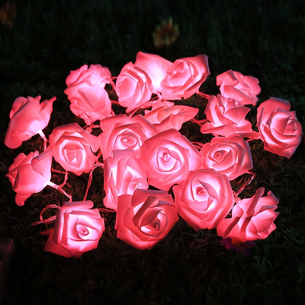 Outdoor String Lights 2M 20 LED Rose Flower Fairy Lights String