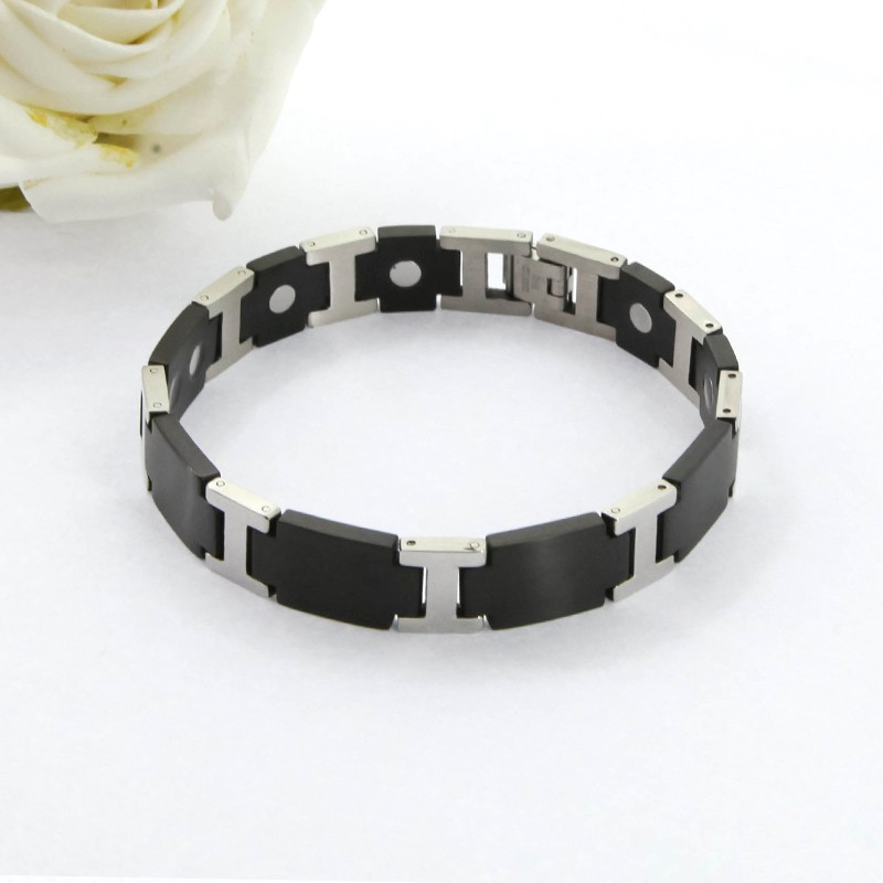 Suitable Formal And Leisure Healthy Silver And Black Two Tone Magnetic Bracelet