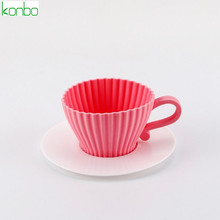 Tea cup shape cake silicone muffin cup mold base