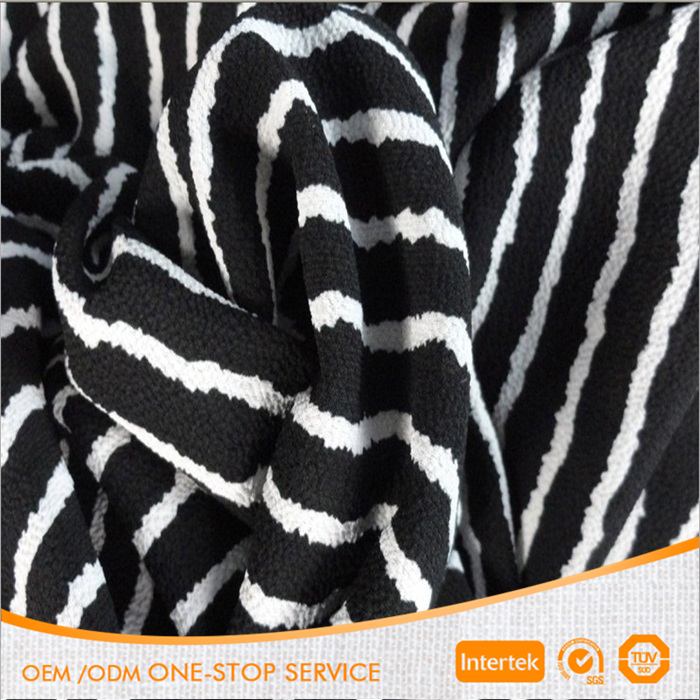 100% polyester black/white stripe printed thick crepe chiffon fabric for garment