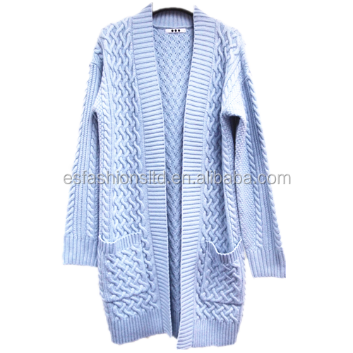 Cambodia Ladies Long Knitted Cable Sweaters Cardigan