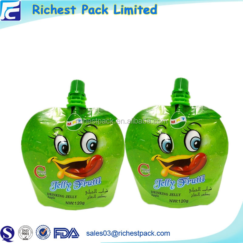 New design plastic container food packaging juice drink spout pouch bag