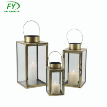 ML - 2607 set of 3 Gifts & Decor Large Contemporary Table Top bronze Metal Candle Holder Lantern, Pillar Candle Lantern