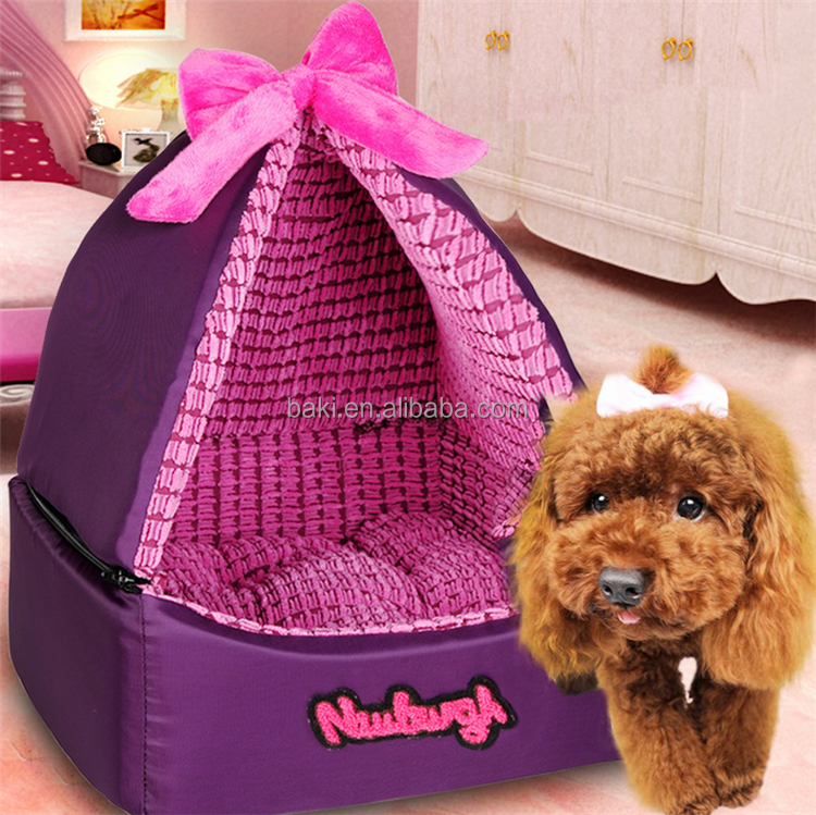 Luxury Romantic Pet Dog House Detachable Dual Using Foam Waterproof Oxford Nest Mini Dog Cat Bed