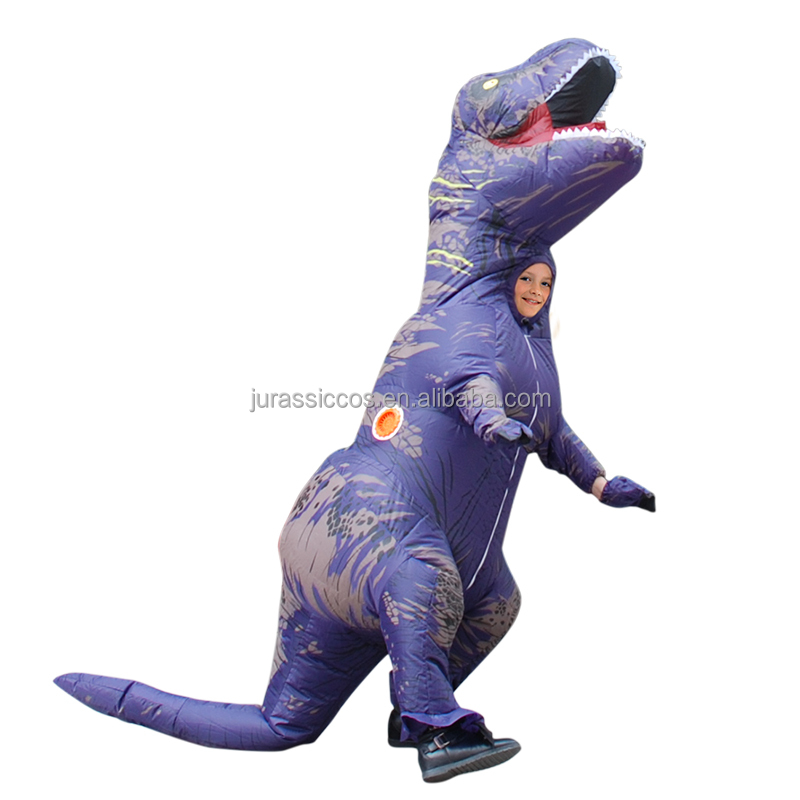 Child Inflatable T rex Mascot Costume Purple