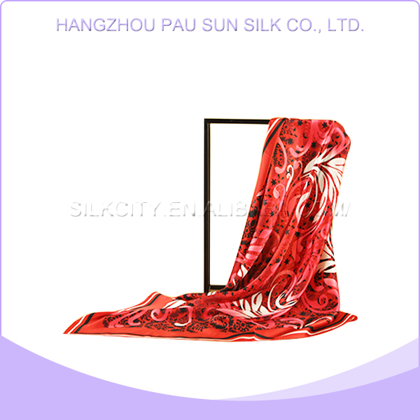China manufacture professional 100% silk scarf rose red, silk scarf wholesale china