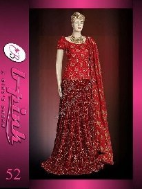 Pakistani Bridal Dresses( Red - Mahroon Velvet - Jamawar Lengha )