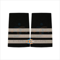 Pilot Uniform Silver Epaulettes | French Silver Wire Braid Epaulet on black | 3 bard Pilot Epaulettes