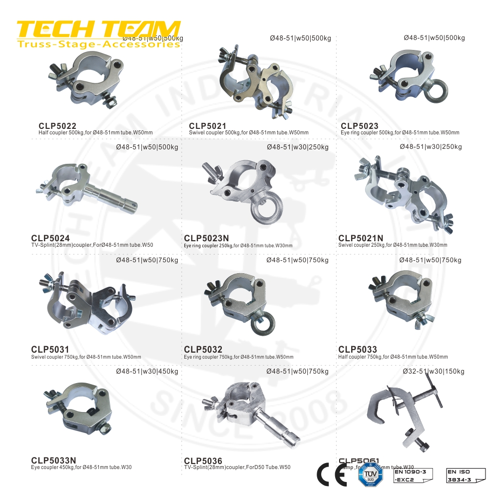 CLP5011 aluminum swivel coupler truss clamps 50mm ,roof truss beam clamp,Swivel coupler 500kg for D50mm tube .